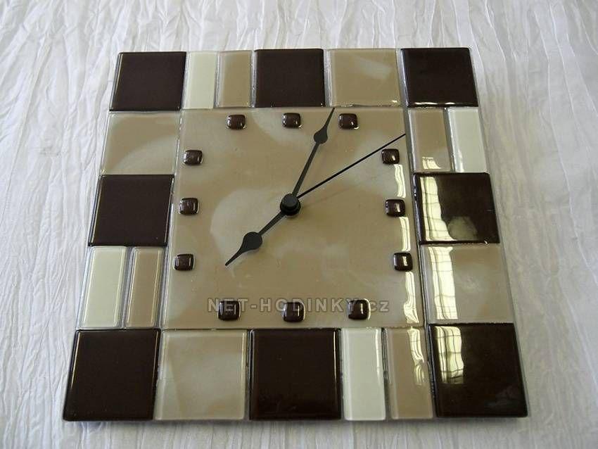 autorské hodiny Skleněné nástěnné hodiny hnědo-kávovo-bílé 150860