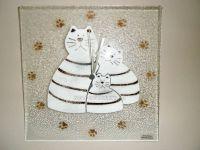 Skleněné nástěnné hodiny se sypaným vzorem kočky 150659