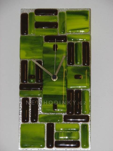 autorské hodiny Skleněné nástěnné hodiny zeleno-hnědé Fusing 150867