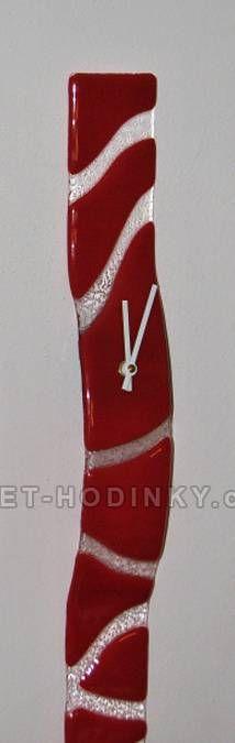 autorské hodiny Velké skleněné nástěnné hodiny Fusing červené ruční výroby 150664