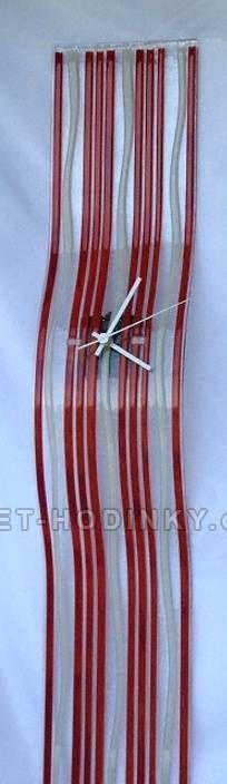 autorské hodiny Velké skleněné nástěnné hodiny Fusing červené ruční výroby 150836