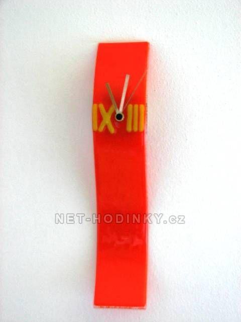 autorské hodiny Velké skleněné nástěnné hodiny Fusing oranžové ruční výroby 150665