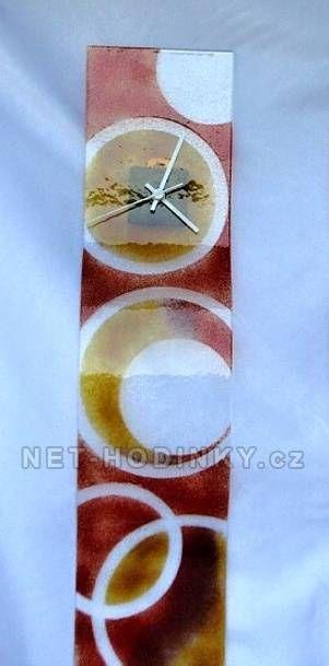 autorské hodiny Velké skleněné nástěnné hodiny Fusing s kroužky ruční výroby 150843