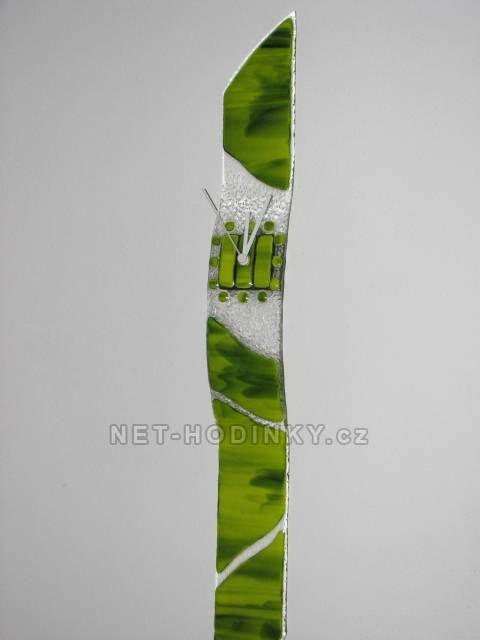 autorské hodiny Velké skleněné nástěnné hodiny Fusing zelené ruční výroby 150837