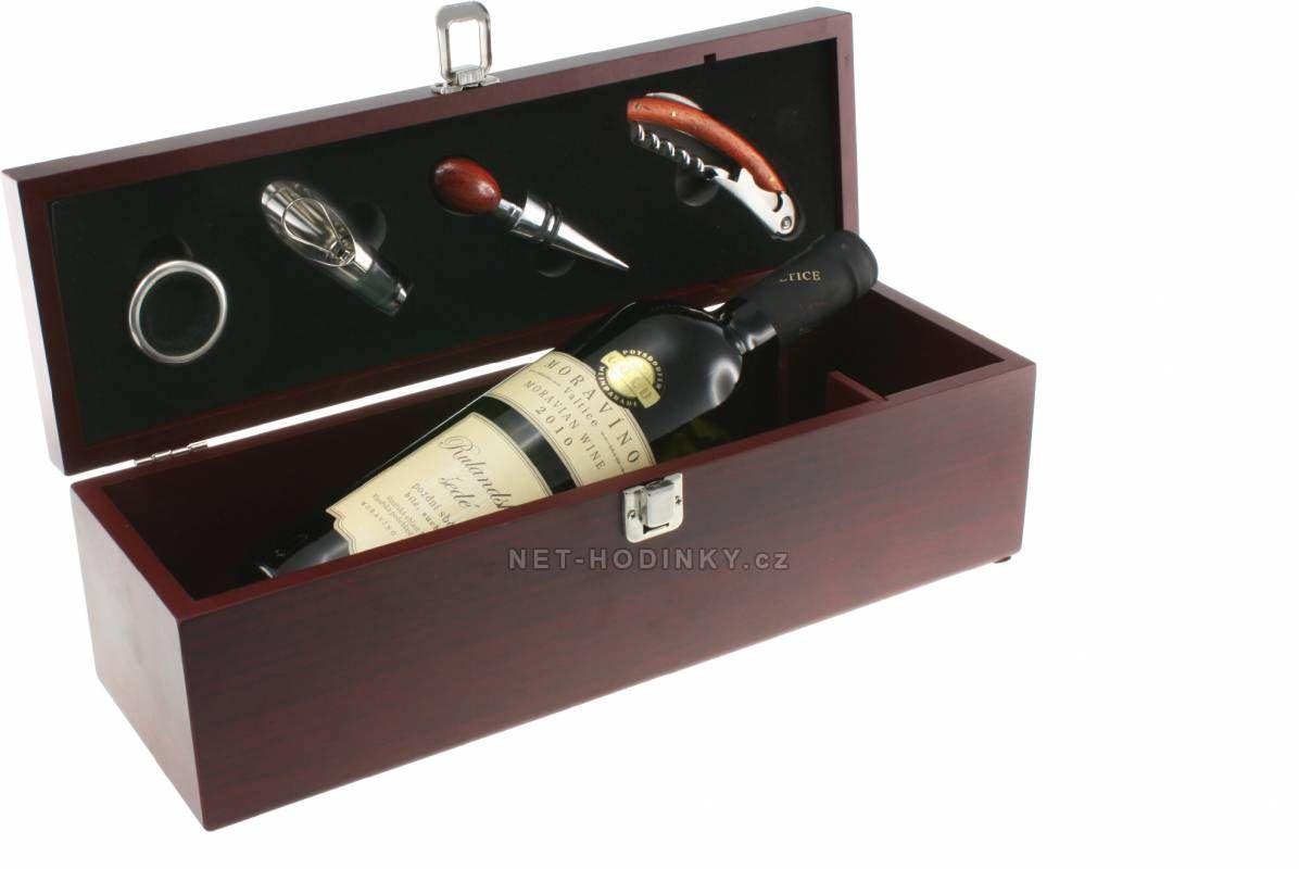Vinná sada 4ks v boxu z MDF 150351 Hodinářství