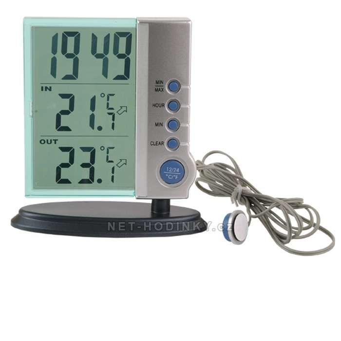 Digitální teploměr s hodinami HETR503 stříbrná 152993