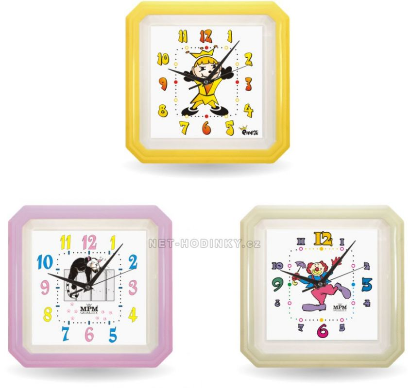 Nástěnné hodiny dětské E01.2418.12 hranaté hodiny 152483