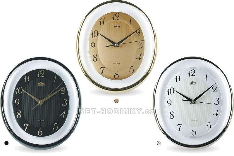 Nástěnné hodiny oválné stříbrná, zlatá, černá 152111