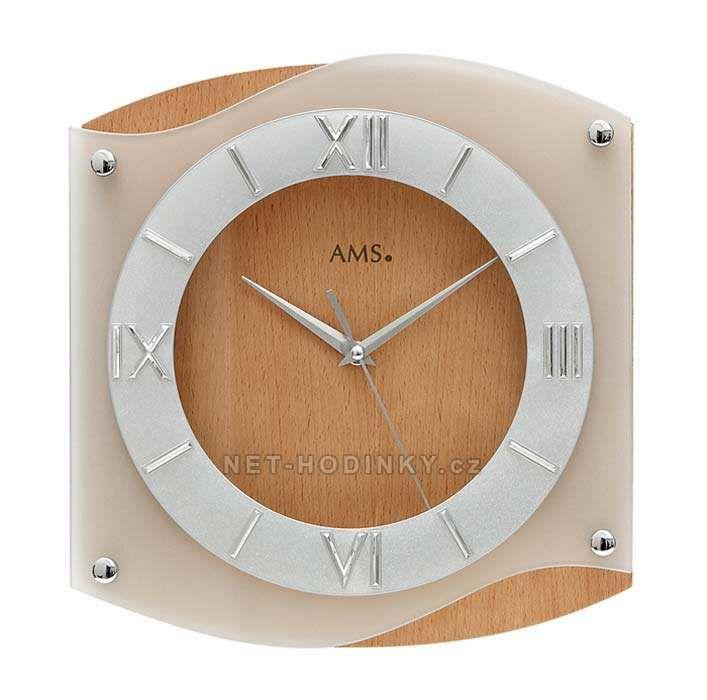 Hodiny quartzové AMS 9321/18 buk hodiny na zeď hranaté, SWEEP 154178 Hodiny