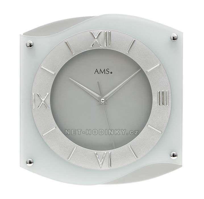 Hodiny quartzové AMS 9321 hodiny na zeď hranaté, SWEEP 154177 Hodiny