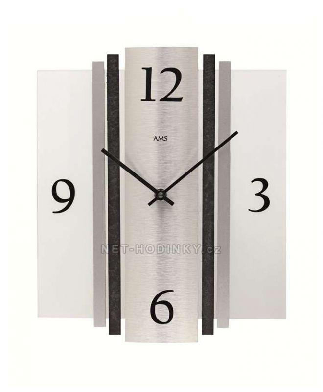 Hodiny quartzové AMS 9392 hodiny na zeď hranaté 154171 Hodiny