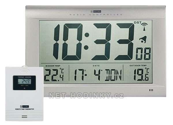 Nástěnné digitální hodiny s venkovním senzorem 154116