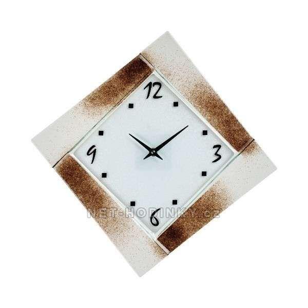 Nástěnné hodiny čtvercové 1177.3 oranžová, 1176.4 hnědá 154204 H&H Hodiny