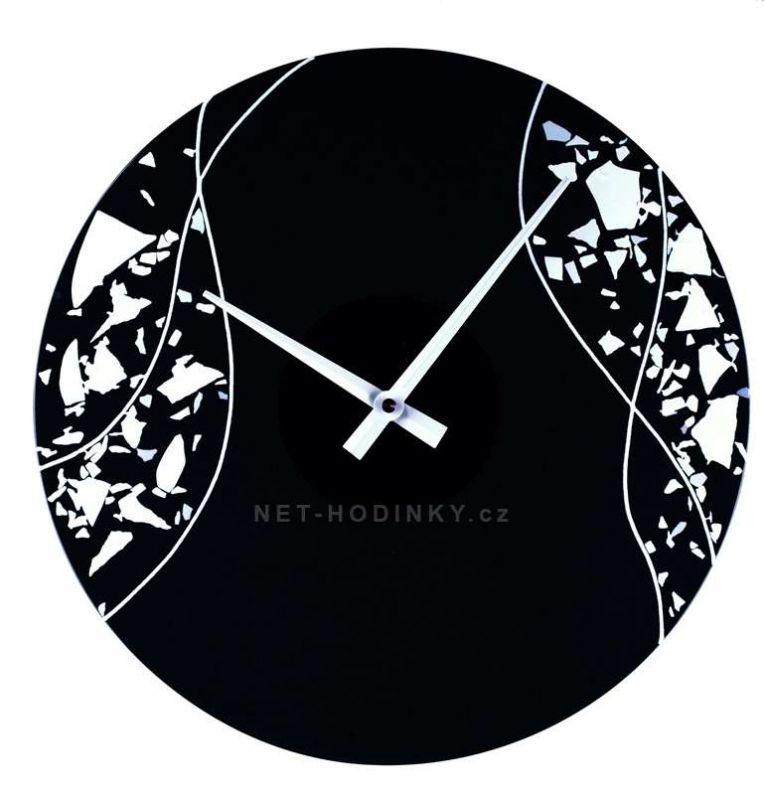 Nástěnné hodiny skleněné 1187.2 černá s bílou kulaté 154206