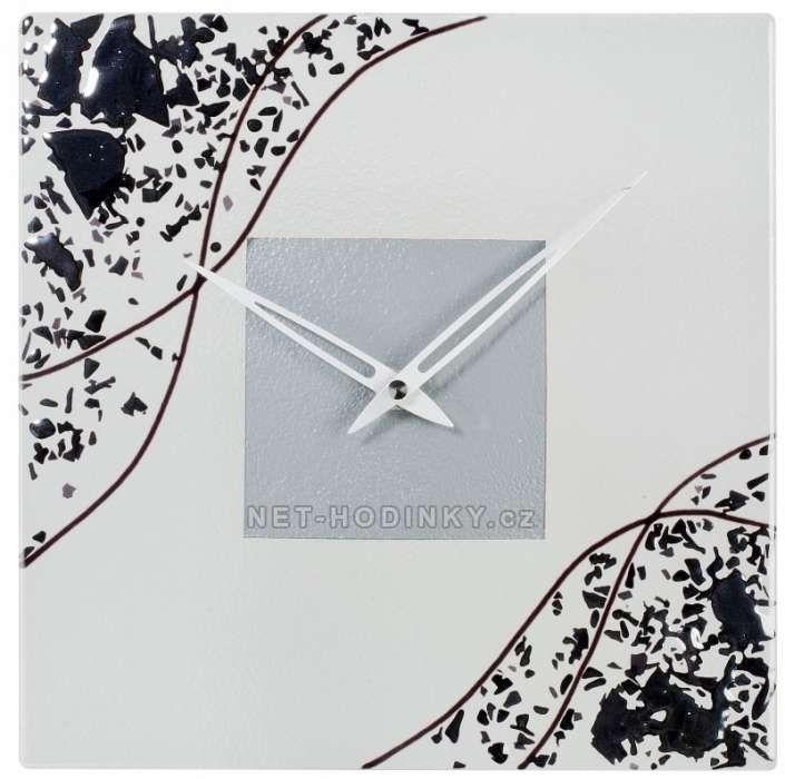 H&H Nástěnné skleněné hodiny CHAOS 1191.4 hranaté 154214