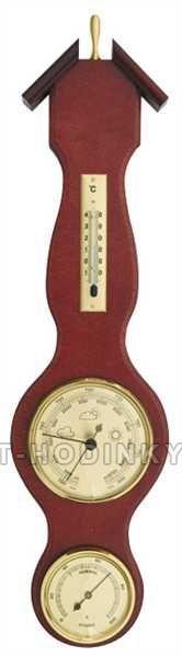 Barometr vnitřní nástěnný dřevěný s teploměrem a vlhkoměrem 154725