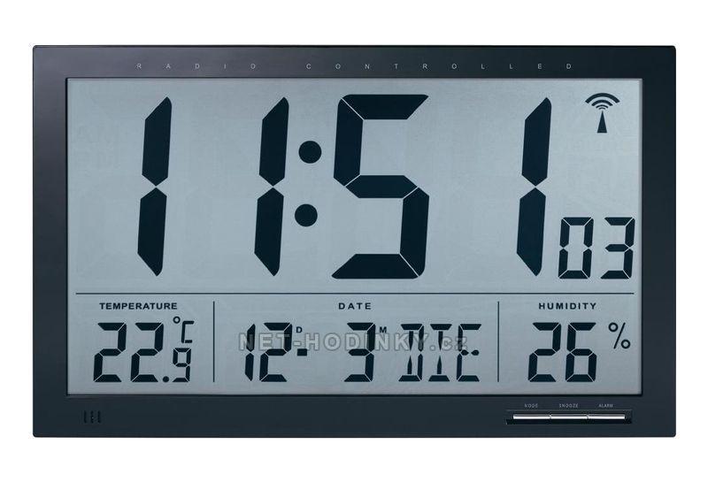 Digitální nástěnné hodiny průmyslové na stěnu s teploměrem 154868