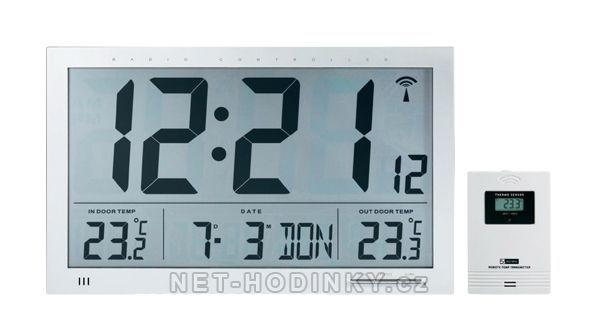 Digitální nástěnné hodiny průmyslové na stěnu venkovní teplota a čidlo 154866