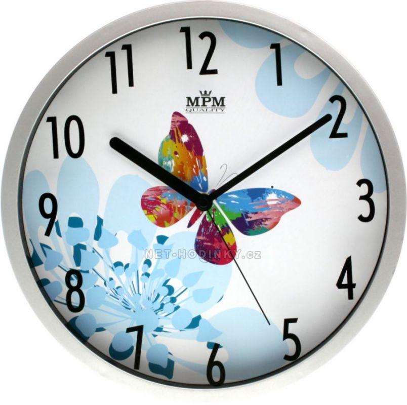Hodiny nástěnné plastové velké E01.3086.7 Kulaté 154771 hodiny motýl