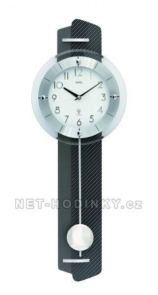 Kyvadlové hodiny quartzové, rádiem řízený čas AMS 5264 154497 5264 stříbrná + černá
