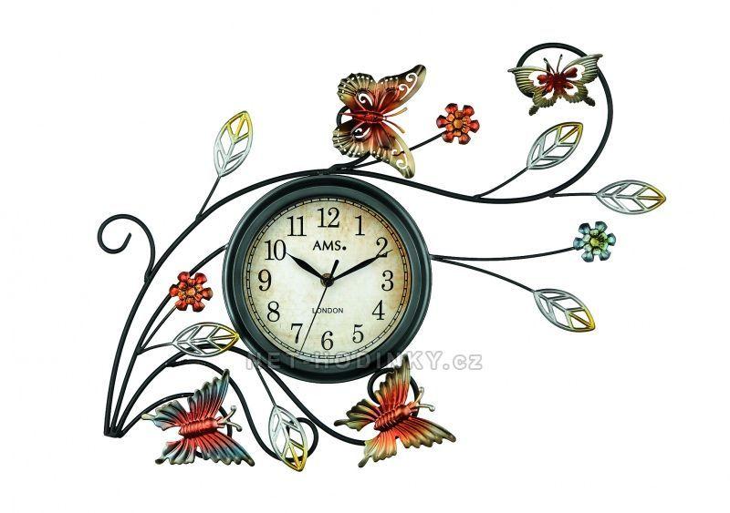 Nástěnné hodiny kovové AMS 9446 motiv motýli a květiny 154520