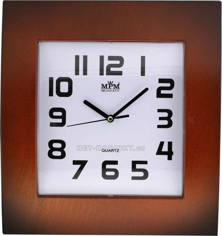 Plastové nástěnné hodiny na zeď na stěnu tmavá hnědá Hodiny