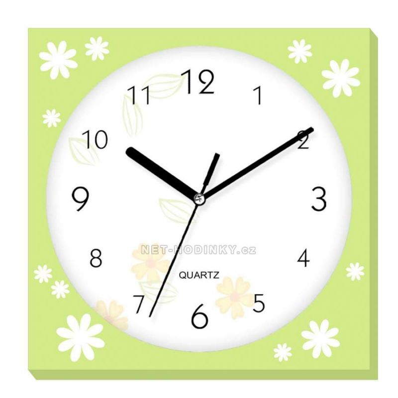 Nástěnné hodiny plastové hranaté e01.2972.4 zelená SKLADEM 154337