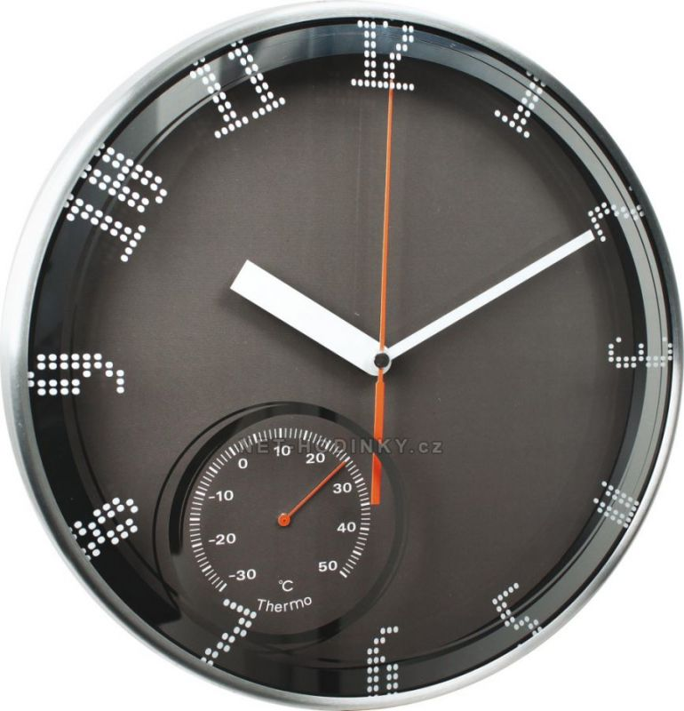 Nástěnné hodiny s teploměrem kovové velké E04.3083.01 154778 bílá