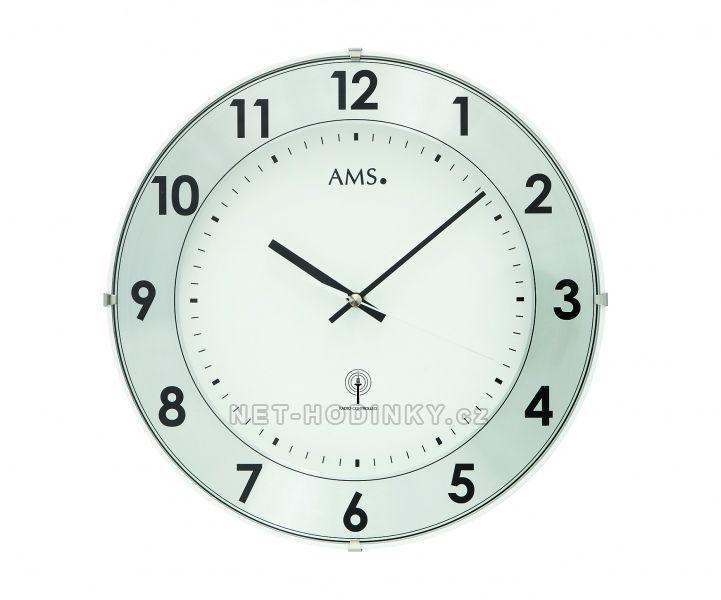 Nástěnné hodiny skleněné AMS 5947, AMS 5948 rádiem řízené stoje 154509 5947 zlatá