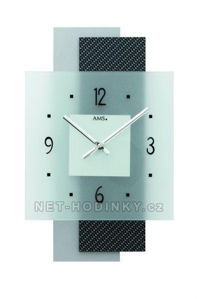Hodiny na zeď Nástěnné hodiny skleněné AMS 9243 quartzové 154505 Designové hodiny