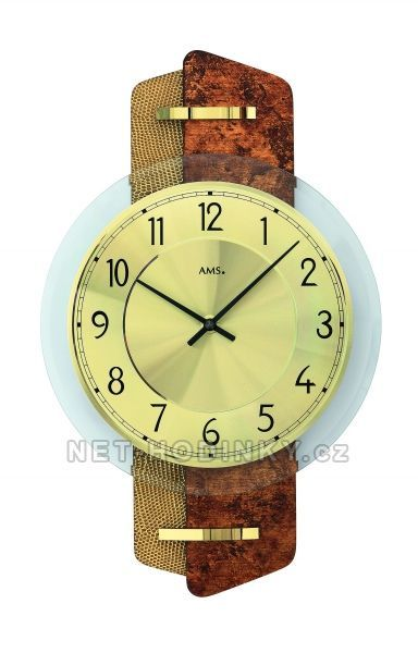 Nástěnné hodiny skleněné AMS 9404, AMS 9405, AMS 9406, AMS 9408, AMS 9409 quartzové 154507 9404 tmavě šedá karbon