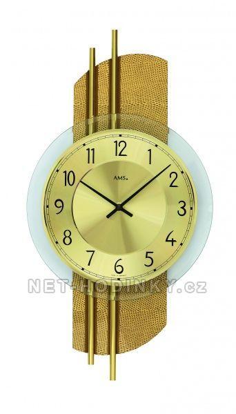 Nástěnné hodiny skleněné AMS 9412 stříbrná, AMS 9413 hnědá, AMS 9414 zlatá quartzové 154506 Hodiny