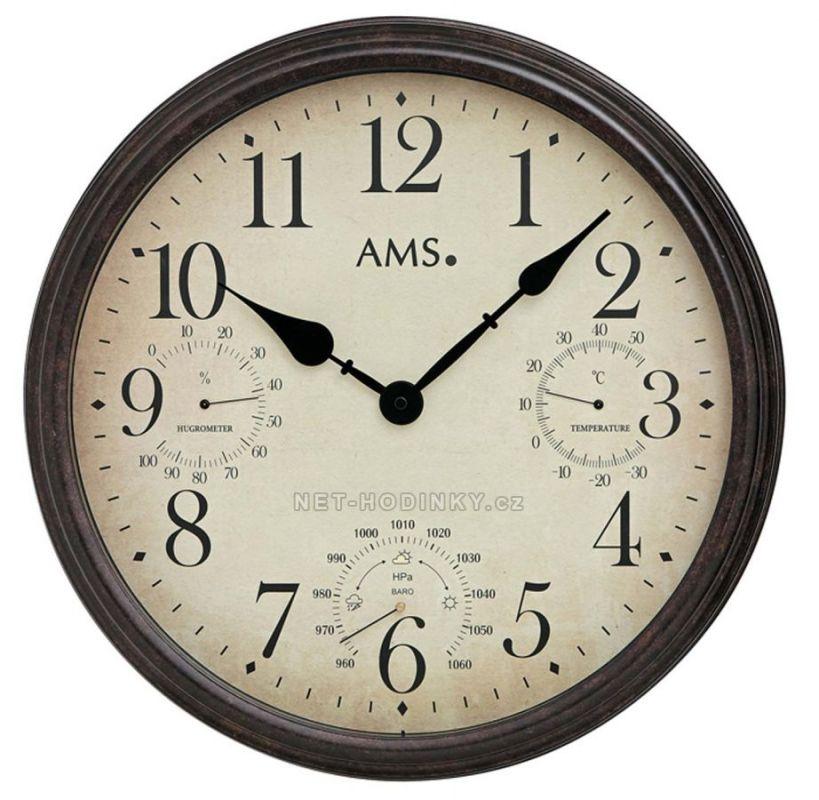 Retro nástěnné hodiny AMS 9463 velké kulaté hodiny kovové 154828