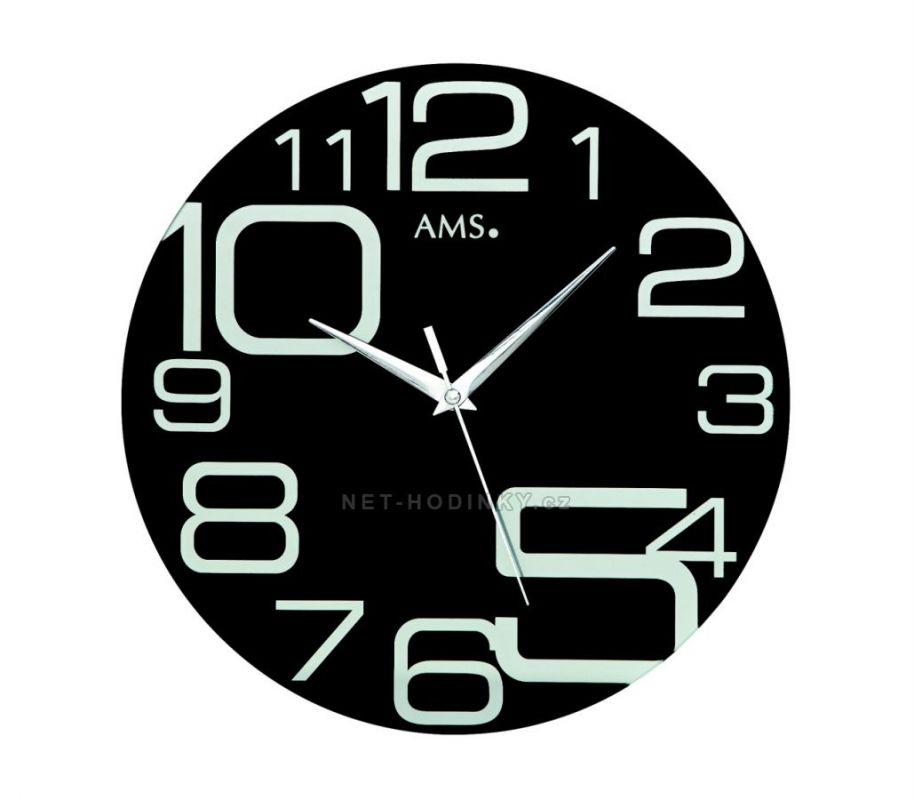 Skleněné nástěnné hodiny kulaté AMS 9461 černá 154835 AMS 9461 černé
