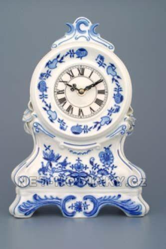 Stolní hodiny porcelánové cibulový dekor 154585 Porcelán Dubí Hodiny