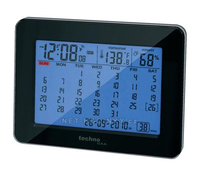 Stolní kalendář s DCF hodinami Techno Line černá/modrá + kalendář 154886