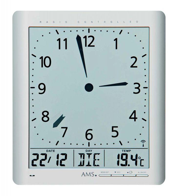 Nástěnné hodiny rádiem řízené AMS 5898 quartzové hranaté 156120