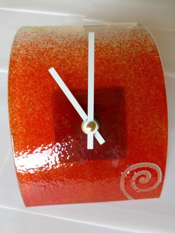 autorské hodiny Skleněné stolní hodiny Spirála červená 156424