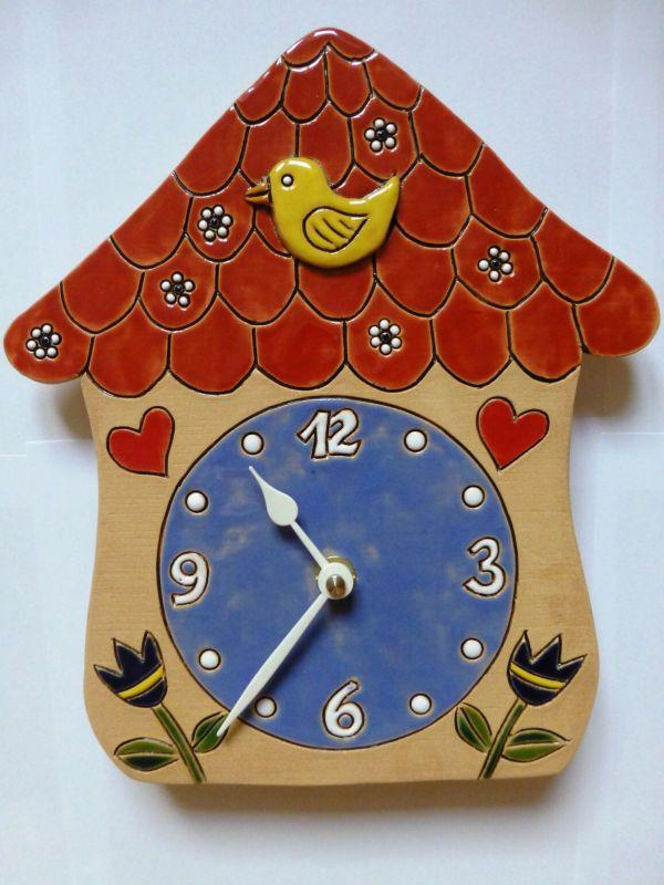 autorské hodiny Dětské keramické nástěnné hodiny Pohádkový domeček 157931 keramické hodiny 3