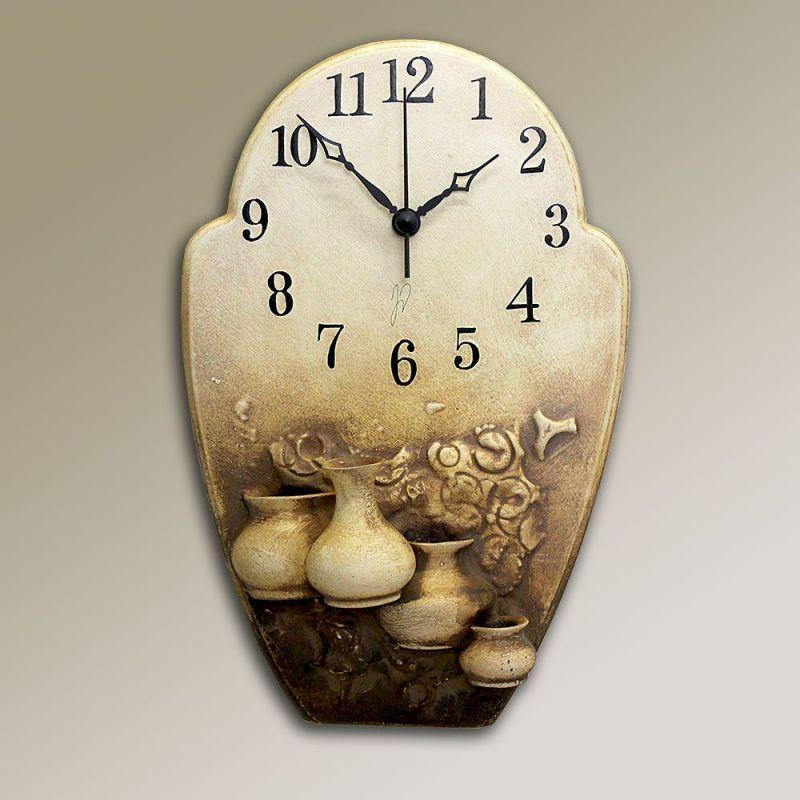 autorské hodiny Hnědé nástěnné hodiny keramické - vázičky 157928