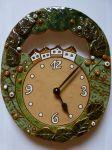 Keramické nástěnné hodiny ovál - domečky 157930