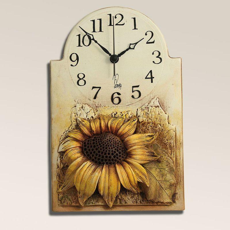 autorské hodiny Keramické nástěnné hodiny Slunečnice 157926