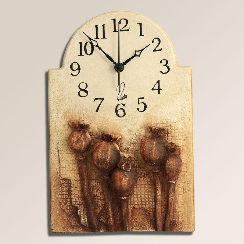 autorské hodiny Retro keramické nástěnné hodiny Makovičky 157927