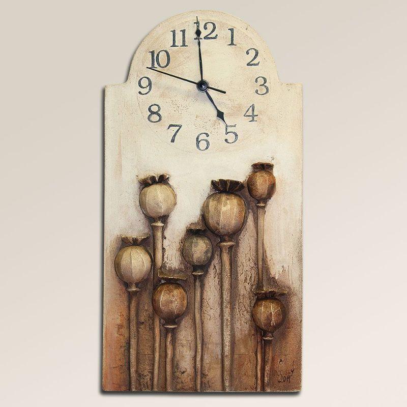 autorské hodiny Velké keramické nástěnné hodiny makovice 157925