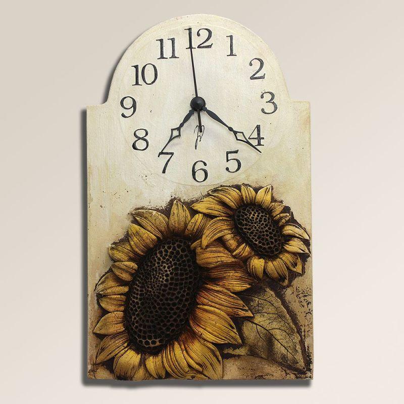 autorské hodiny Velké keramické nástěnné hodiny Slunečnice 157924