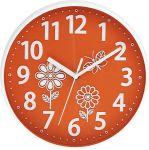 Nástěnné dětské hodiny kulaté oranžová motiv kytka 160642
