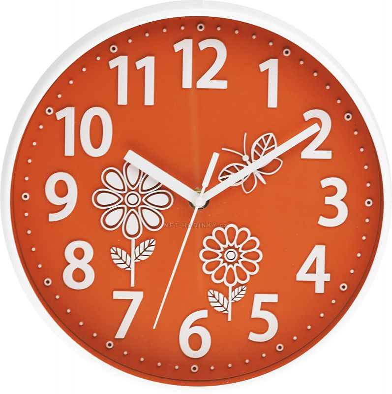 Nástěnné dětské hodiny kulaté oranžová motiv kytka 160642 Hodinářství