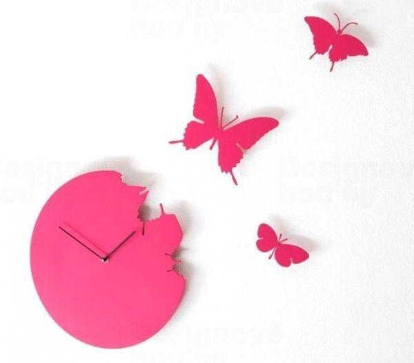 Diamantini&Domeniconi Designové hodiny Diamantini a Domeniconi Butterfly magenta 40cm 160804