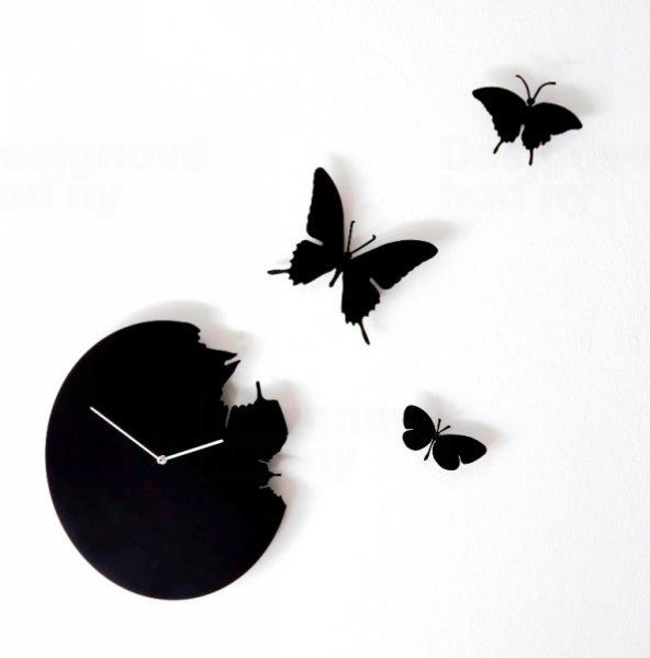 Diamantini&Domeniconi Designové hodiny Diamantini a Domeniconi Butterfly black 40cm 160809