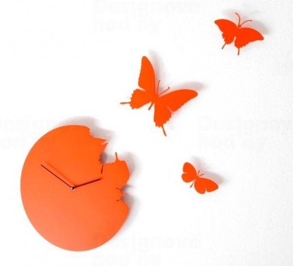 Diamantini&Domeniconi Designové hodiny Diamantini a Domeniconi Butterfly orange 40cm 160810
